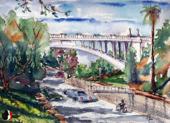 Painting from Brookside Park to Colorado Street Bridge