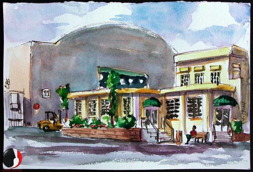 CBS Studio Center Commissary in Watercolor